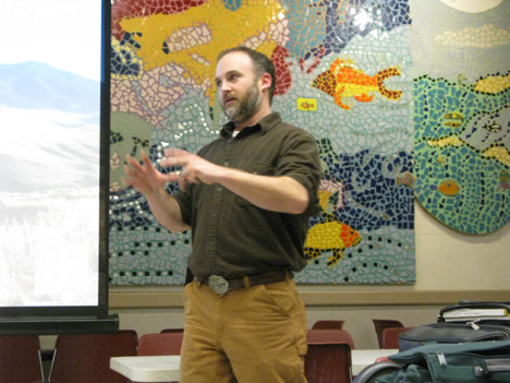 Paleontologist Jason Schein talking to the DVPS at a monthly meeting about the Bighorn Basin Dinosaur Project